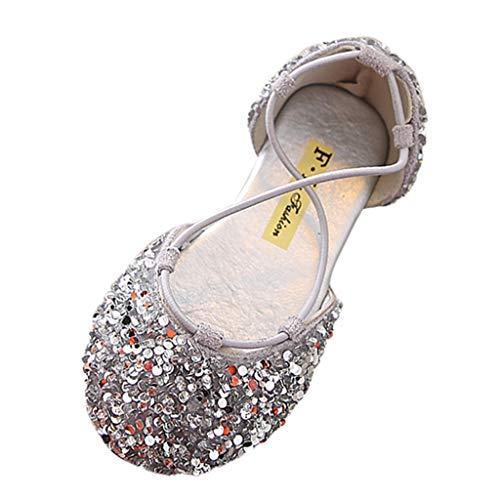 Alimao Kid's Glitter Sandals Sequin Pretty Party Dress Pumps Low Heels Princess Shoes,Girls Dress Wedding Party Bridesmaids Heel Mary Jane Princess -