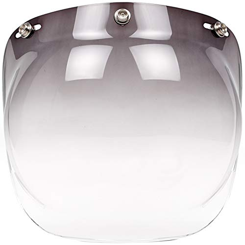 Bubble Face Shield Visor for 3-Snap Open Face Helmets (Smoke Gradient) ()