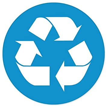 Recycle sign blue sticker decal 4