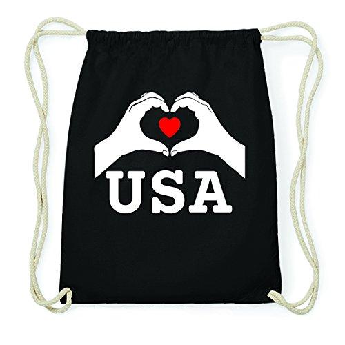 JOllify USA Hipster Turnbeutel Tasche Rucksack aus Baumwolle - Farbe: schwarz Design: Hände Herz