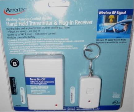 (Wireless Remote Control System for Lights or Apliances with Hand Held Transmitter & Plug-In Receiver)