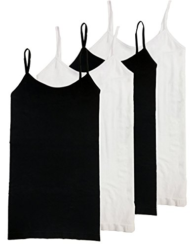 - HL California Snug Fit Camisole Spaghetti Strap 4-Way Strech Seamless Top Value Pack (2-BLK 2-White)