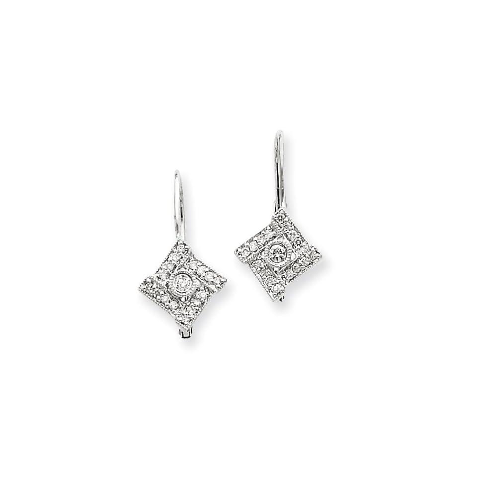 14k White Gold Vintage Diamond Earrings Diamond quality AA (I1 clarity