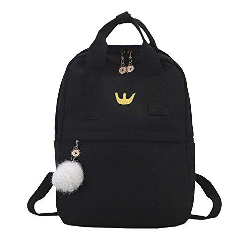Handbag or Shoulder Bag 2 Style Backpack Hairball Mini Embroidery Canvas School Student Satchel Travel Shoulder Bag (Black) by Luca-backpack