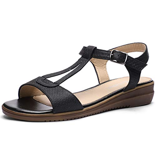 CINAK Women Comfort Flat Sandals-Cute Open Toe One Band Adjustable Ankle Strap Stylish Summer Shoes Black