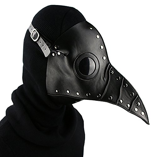 Unique Design Hand Made Leather Plague Doctor Death Mask Bird Beak Spike Steampunk Steam Punk Gothic Halloween LARP Cosplay (style3)]()