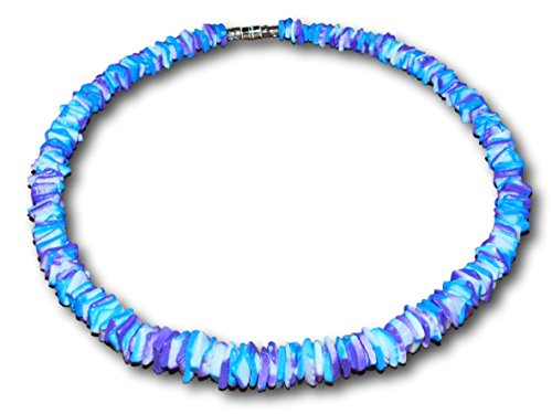 Shell Necklace Puka Choker (Native Treasure - 14 inch Little Kids Puka Chips Shell Necklace Tie-Dyed Blue, Violet and White Choker)