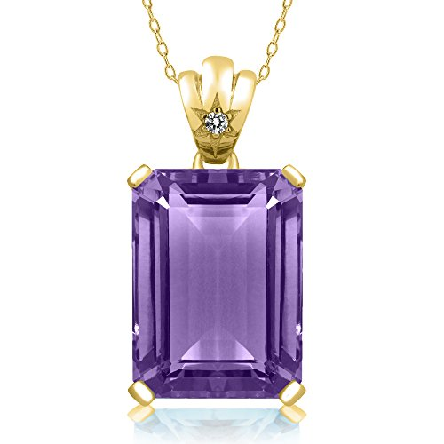 Gem Stone King 15.03 Ct Octagon Purple Amethyst White Diamond 14K Yellow Gold Pendant