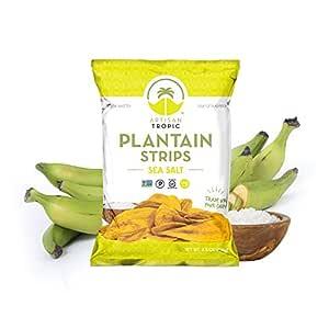 Sea Salt Plantain Chips - Vegan Snacks - Healthy Snacks - Paleo Snacks - Gluten Free Snacks - Whole 30 Approved Foods - Banana Chips - Baked Chips - ARTISAN TROPIC Plantain Strips - 4.5 Oz - 2 Pack