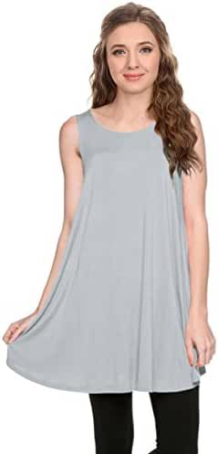 Simlu Womens Basic Sleeveless Long A-Line Made in USA Tank Top Tunic Vest