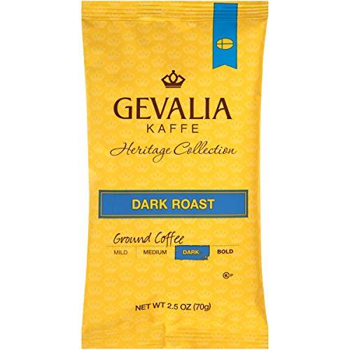 - Gevalia Heritage Collection Dark Roast Ground Coffee (2.5 oz Bags, Pack of 24)