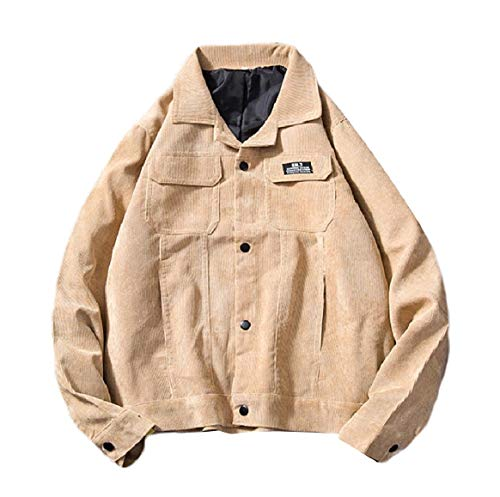 Down Corduroy Button Turn Jacket RkBaoye Collar Comfy Casual Coat Men's Khaki UpEBxq1w