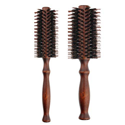 Lurrose 2pcs Peines de madera naturales del cepillo del pelo de la cerda del peine de la cerda del peine redondo la manija de madera