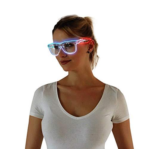 Light Up Sunglasses Rave (El Wire Multi-color Glasses Light Up Clear Wayfarer Led Rainbow Glasses for Festival Rave Party)