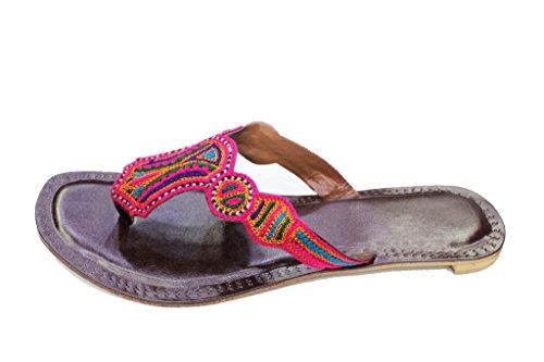 UK Casual Womens Brown Kolapuri amp; Embroidered UK Multy Brown Flat Walk Indian Wear K908 Sandal Ladies Handmade 9 3 Size fqtExPwtXU