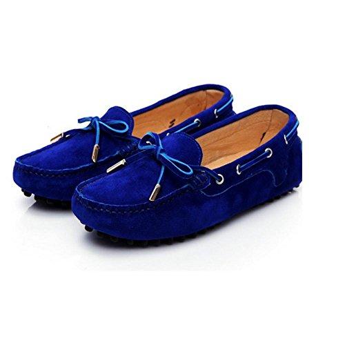H HMujeres de primavera y otoño (azul pálido.) Azul, rojo, naranja, rojo) piel helada cabeza redonda perezoso zapatos de conducción baja ayuda guisantes mariposa nudo metal decorar zapatos de mujer ,