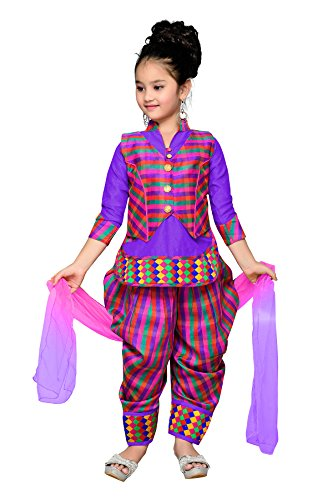 Aarika Girl's Self Design Cotton Ethnic Kurti, Patiala and Dupatta Set (1516-PURPLE-JK-3_34_12-13 Years) by Aarika