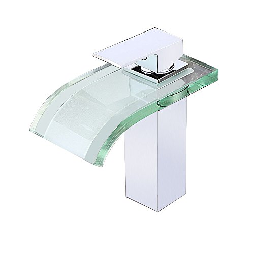 JinYuZe Solid Brass Glass Spout Waterfall Bathroom Vanity Sink Faucet, Chrome