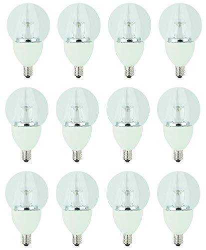 - TCP 40 Watt LED Clear G16.5, 12 Pack, Soft White (2700K), Candelabra Base (E12), Dimmable Globe Light Bulbs