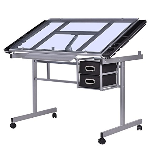 Drawing Desk Adjustable Rolling Drafting Painting Table Tempered Glass Top Art Craft Hobby Studio Architect Work Heavy Duty Steel 2 Drawers For Tools Storage 4 Casters For Mobility