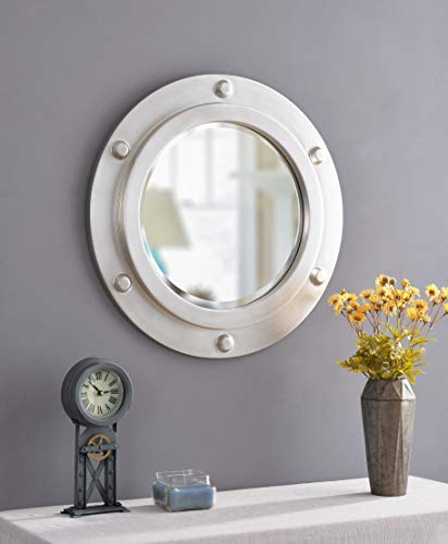 Kenroy Home Portside Home Décor, 24 Inch Diameter, Weathered Steel - Mirrors Large Porthole Bathroom