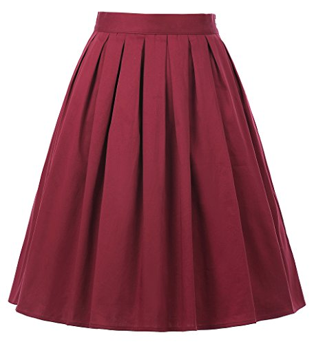 Casual Pleated Swing Skater Skirts for Women Red Size S CL6294-20