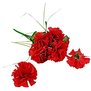 MM TJ Products Artificial Red Carnation Bush; 7 Stems 2