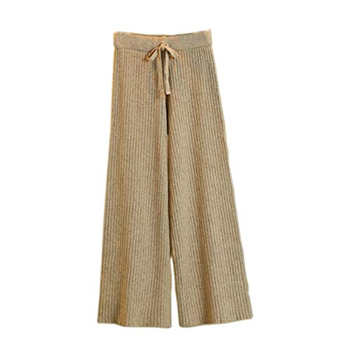 - Women's Knit Elastic Waist Pull On Pants Cashmere Pants Thick Straight Pants Casual Wool Pants,(Fit Size US 6-10) Khaki