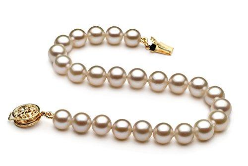 Blanc 6-6.5mm AAAA-qualité perles d'eau douce 585/1000 Or Jaune-Bracelet de perles