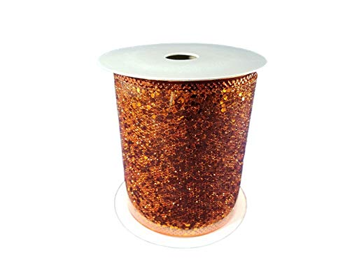 Wired Metallic Glitter Ribbon for Bows, Wreaths, Crafts, Holiday Decorations, 4 Inches x 25 Feet (Orange) -