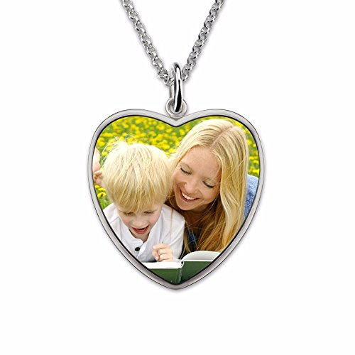 A2MYL Personalized Sterling Silver Photo Engraved Necklace Handmade Photo Disc Back-Engraving Mother Necklace Mom Gift