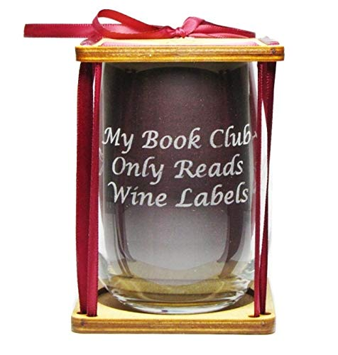 Book Club'My Book Club Only Reads Wine Labels' 360 Degrees Engraved Stemless Wine Glass