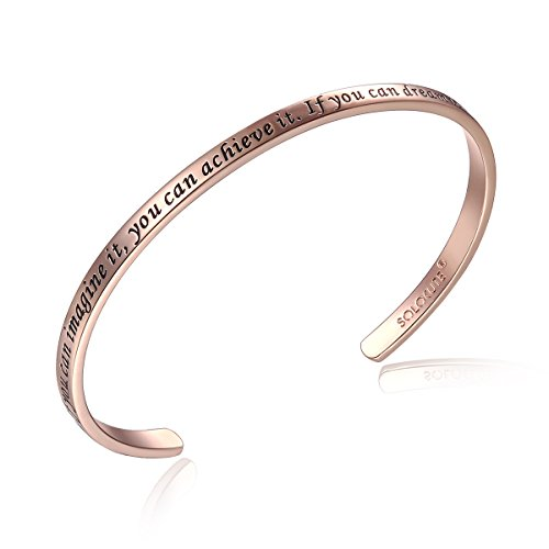 Solocute Rose Gold Bangle Bracelet Engraved If You Can Imagine It,You Can Achieve It.If You Can Dream It,You Can Become It Inspirational Jewelry, Womens Cuff Bracelets