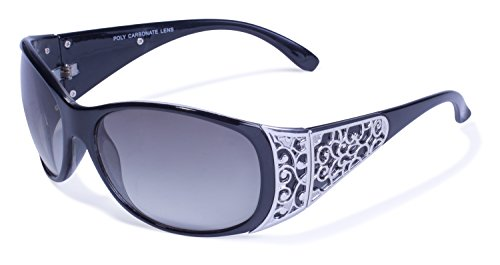 Global Vision Eyewear Tiara Sunglasses, Shiny Crystal Clear Frame, Smoke Gradient Lense