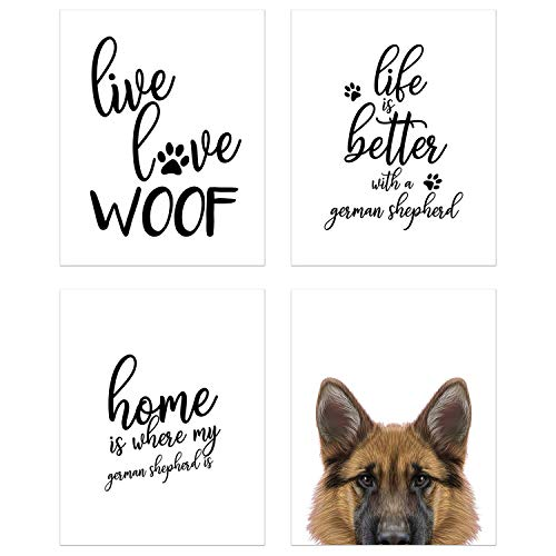 Summit Designs German Shepherd Wall Art Décor Prints - Set of 4 (8x10) Unframed Poster Photos - Dog Puppy Quotes ()
