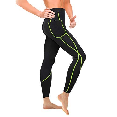 Wonderience Women Sauna Weight Loss Slimming Neoprene Pants with Side Pocket Hot Thermo Fat Burning Sweat Leggings (Black-Green, 2XL)
