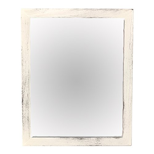 - Wood Framed Mirror - Wall Mounted Natural Wooden Frame Mirror - Rectangle Real Wood Frame - Reclaimed Wood Accents - Rustic Home Décor (White Distressed, 8x10)