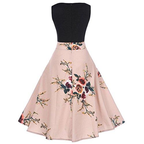 1950 Robe Soire Floral Col Sans Manches Vintage Robe Plisses Audrey Hepburn Style de Robe Sexy Imprimer Casual Femme Bodycon Robe Rose 's Covermason Rond Robes Swing Prom XxSaTOqn