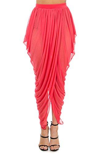 Mesh Draped - Karies Womens Sexy Draped Mesh Skirt Coral S