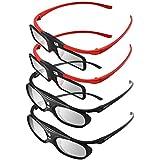 BOBLOV 4 Pieces Family Pack Active Shutter 3D Glasses DLP-Link Compatible with All DLP Porjectors for Parents and Kids