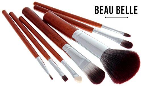 Beau Belle Makeup Brushes - 7pcs Makeup Brush Set + Makeup Brush Holder - Professional Makeup Brushes - Makeup Brushes Set - Make Up Brushes - Makeup Brush Pot