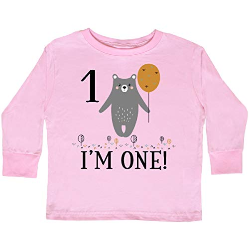(inktastic - 1st Birthday Woodland Bear Toddler Long Sleeve T-Shirt 3T Pink 3559c)