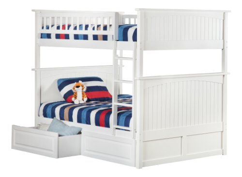 Nantucket Bunk Bed with 2 Raised Panel Bed Drawers, Full Over Full, White