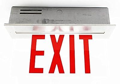 Yorklite Emergency Light Clxaccr1Cr3X0 Ac LED Edgelit Cr1 Cr3 Ss Exit Sign 120/277 VAC Red Letter Lighting