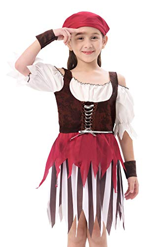 Baby Toddler Girl Pirate High Seas Buccaneer Costume Party Decoration Toy Kids Pretend Play Pirate Fancy Dress (4-6Y)
