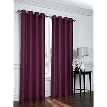 2 Pack: Regal Home Collections Semi Sheer Faux Silk Grommet Curtains    Assorted Colors (