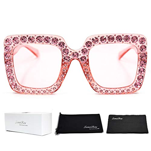 SamuRita Elton Square Diamond Rhinestone Sunglasses Novelty Oversized Celebrity Shades(Pink Frame/Pink Gradient Lens)