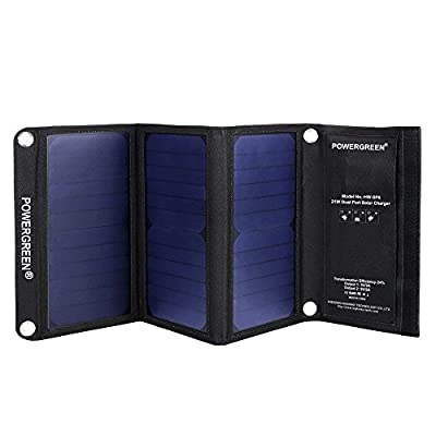 Solar Charger, PowerGreen 21W Portable Foldable Solar Panel with 2 USB Ports for all 5V Mobile Devices