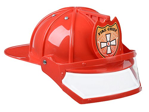 Aeromax Firefighter Helmet with movable visor, RED, Adjustable (Adult Fireman Costumes)