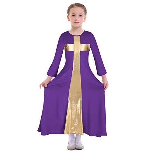 Kids Girls Liturgical Praise Robe Cross Lyrical Dance Worship Dress Metallic Color Block Bell Long Sleeve Loose Fit Floor Length Holiday Swing Dress Ballet Praisewear Costume Purple-Gold 7-8